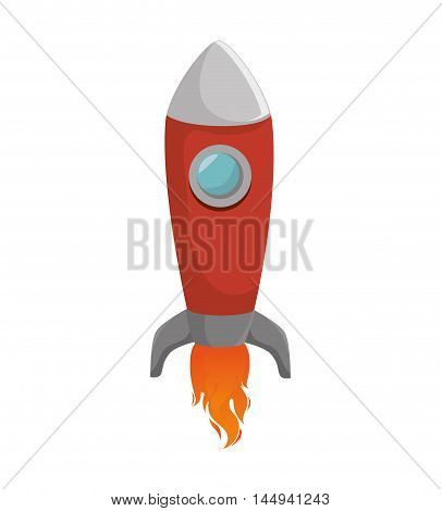 rocket spacecraft transport vehicle universe space flame vector illustration