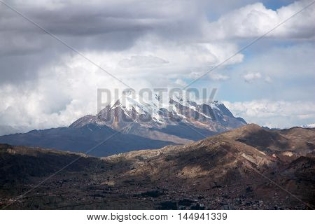 The city of La Paz and the Illimani mountain in Bolivia