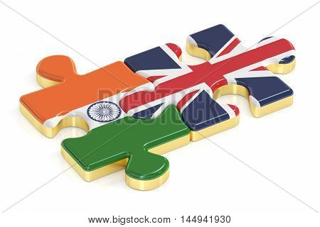 Great Britain and India puzzles from flags 3D rendering