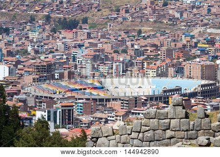 Cusco Stadium Viewed From Saqsaywaman