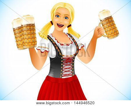 Waitress holds glasses of beer; Girl at Oktoberfest in traditional German clothes; Blonde smiling; No Mesh; Vector Eps10