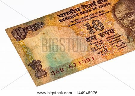 10 rupees bank note of India. Rupee is the national currency of India