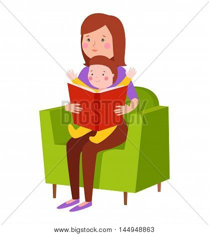 Young mother vector character and young mother happy parent. Newborn face young mother lifestyle cheerful motherhood. Young family portrait. Mother and baby