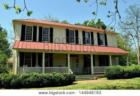 Hillsborough North Carolina - April 20 2016: Main home at the 1821 Burwell School for Women historic site