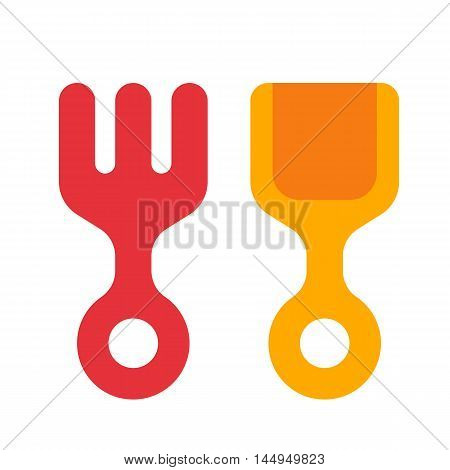 Rake And Shovel In Flat Style