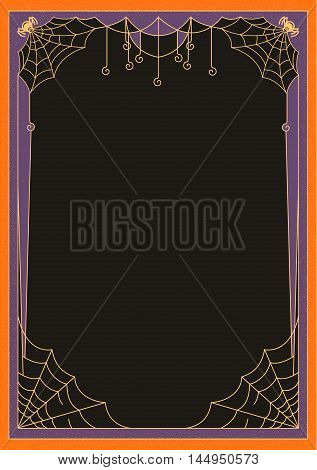 Rectangular frame with spider webs and spiders for Halloween