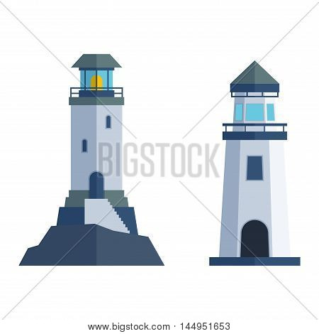 Vector set of cartoon flat lighthouses. Searchlight towers for maritime navigation guidance. Ocean beacon light vector tower lighthouse. Travel lighthouse water sailing signal navigation symbol.