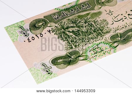0.25 Iraqi dinar bank note. Iraqi dinar is the national currency of Iraq