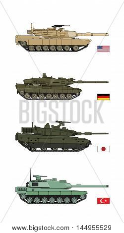 Collection Military Transportation of design vector tanks