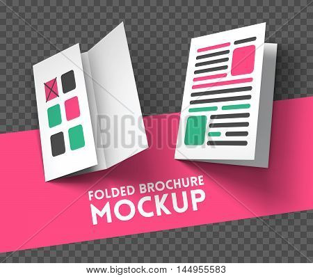 Magazine, booklet, postcard, flyer, trifold or brochure mockup template. Good for business presentations and advertisements. Mockup on transparent background. Vector Illustration.