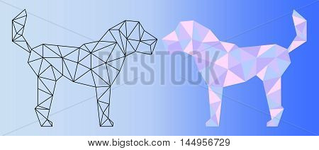 Low poly dog vector illustration. Two polygonal dog silhouettes - black outlined polygonal dog and pink shades colorful polygonal dog. Horizontal banner template with domestic animal. Pet artwork