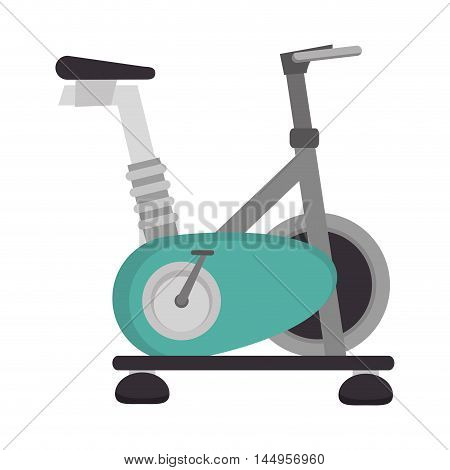 spinning bike gym equipment training fitness static exercise vector illustration isolated