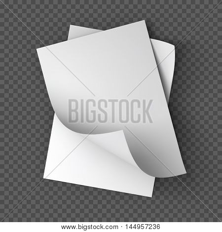 Paper sheets, booklet, postcard, flyer or brochure mockup template. Good for business presentations and advertisements. Mockup on transparent background. Top view. Vector Illustration.