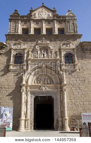 Toledo Spain - July 28 2016: plateresque facade of Santa Cruz Museum 16th-century Toledo Spain