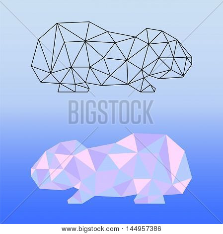 Low poly guinea pig vector illustration. Two guinea pig silhouettes - black outlined polygonal guinea pig and pink colored polygonal guinea pig. Square card template with domestic animal. Pet artwork