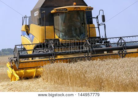 Kharkiv region Ukraine - July 29 2016: Combine harvests wheat on a field in Kharkiv region Ukraine on July 29 2016