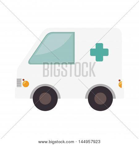 ambulance van medicine cross health rescue paramedic service vector illustration