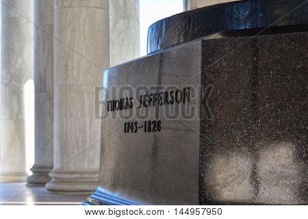 WASHINGTON DC - DECEMBER 19: Internal of Thomas Jefferson Memorial with silhouette of the Statue. Shot at December 19, 2015 in Washington DC, USA.