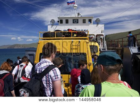 BAIKAL LAKE, OLKHON ISLAND, RUSSIA - 7 JULY, 2016: Ferryboat at Baikal Lake, Olkhon Island, Siberia, Russian Federation