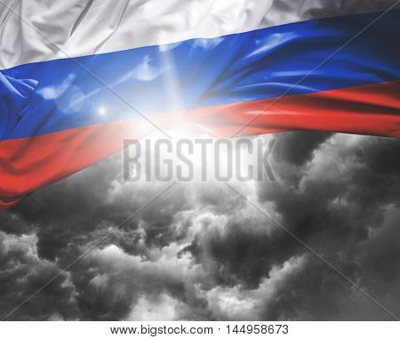 Russia flag on a bad day