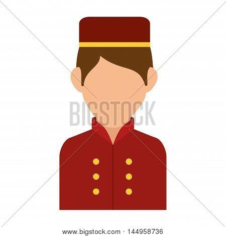 avatar bellboy bellman hotel professional job cartoon uniform hat vector illustration