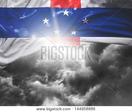 Netherlands Antilles flag on a bad day