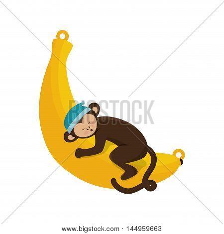 monkey slepping banana fruit animal cartoon funny wildlife vector illustration