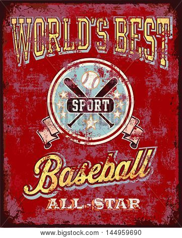 baseball obsolescent metal board vector for T-shirt graphic illustration and posters