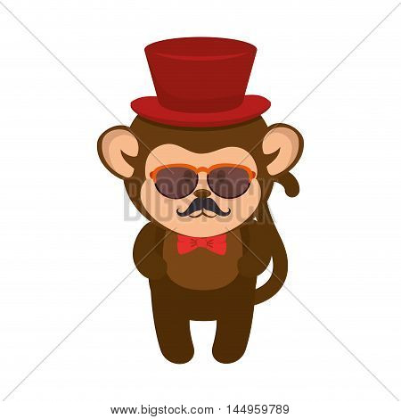 monkey wearing a costume animal cartoon funny wildlife vector illustration
