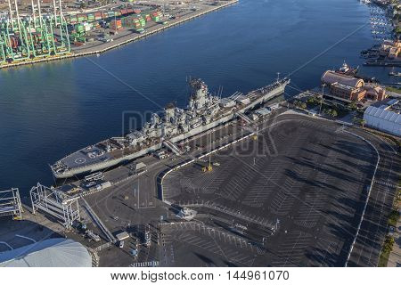 Los Angeles, California, USA - August 16, 2016:  Afternoon aerial view of the USS Iowa Battleship Museum in the San Pedro.