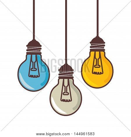 bulb power light hanging energy electricity object vector illustration