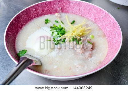 Pork Congee (Mince Joke) for the breakfast meal