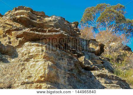 Gardens of Stone sandstone rockface in NSW