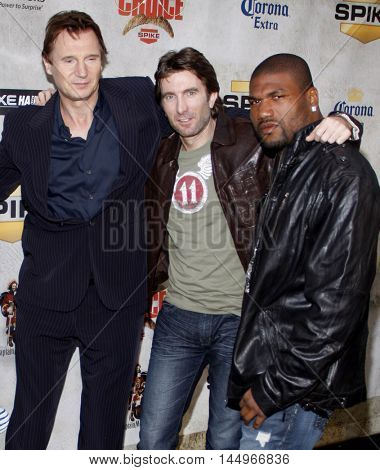 Liam Neeson, Sharlton Copley and Quinton Jackson at the 2010 Guys Choice Awards held at the Sony Pictures Studios in Culver City, USA on June 5, 2010.