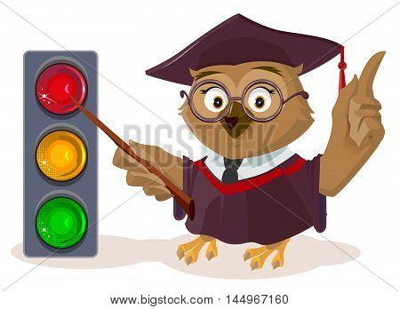 Owl teacher and traffic light. Isolated on white vector cartoon illustration