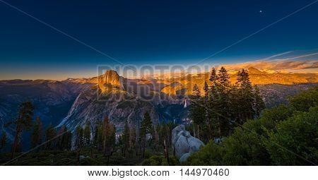 National Park Yosemite Half Dome Lit By Sunset Light Glacier Point