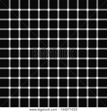 The pattern of intersecting gray lines on a black background white circles at the intersections of the lines the illusion of black circles vector illustration for print or website design.