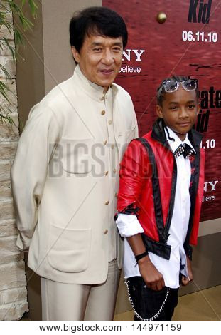 Jackie Chan and Jaden Smith at the Los Angeles premiere of 'The Karate Kid' held at the Mann Village Theater in Westwood, USA on June 7, 2010.