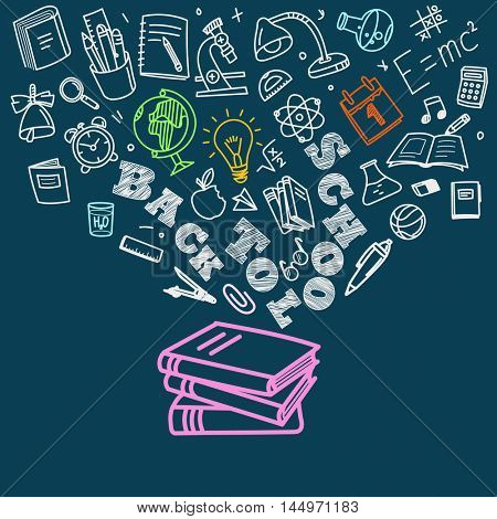 Back to school concept. Falling icons to the books