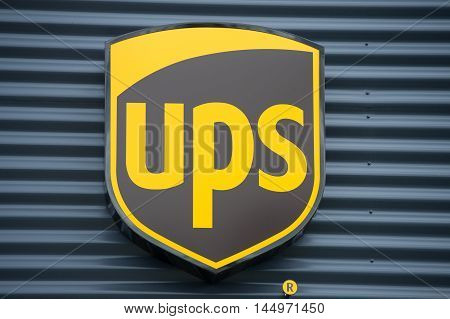 VILNIUS - JULY 30: UPS sign on July 30, 2016 in Vilnius, Lithuania. United Parcel Service, Inc. UPS is the world's largest package delivery company and a provider of supply chain management solutions.