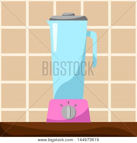 Blender on table vector illustration in cartoon style. Kitchen appliance for cooking healthy food. Glass blender with pink base for juice and shakes processing. Modern home appliance flat style image.