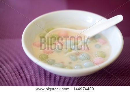 Bua Loi Thai dessert with colorful ball flour and coconut milk