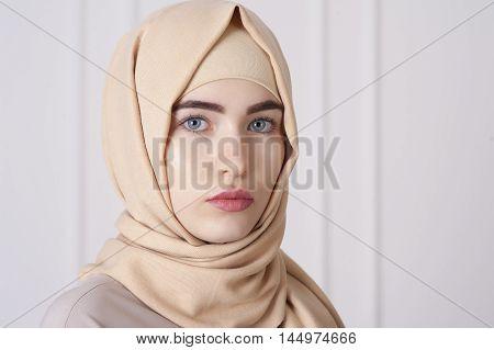portrait of a beautiful young Muslim woman wearing a hijab on her head Ufa