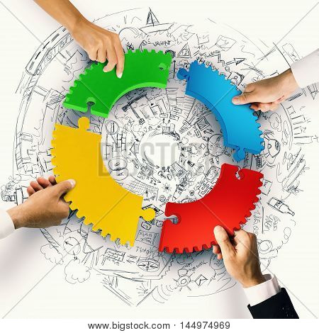 Business people join the colorful puzzle pieces of gear. Concept of integration. 3D Rendering
