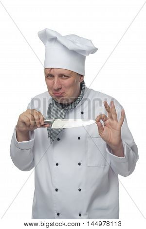chef showing knife sharpening, on a white background