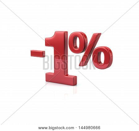 3d illustration of 1 percent discount in red letters on white background