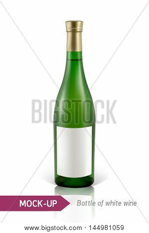 Mockup realistic gree bottle of white wine on a white background with reflection and shadow. Template for wine label design.