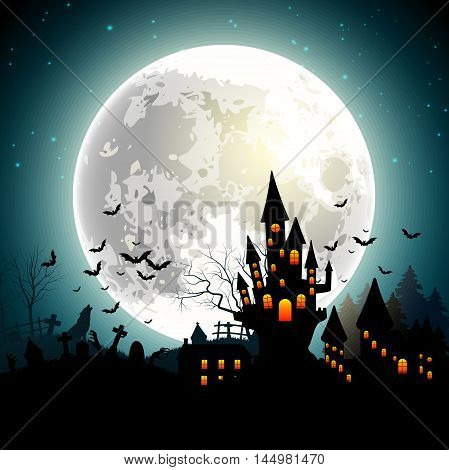 Illustration of Halloween background with haunted castle, bats on full moon