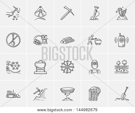 Mining industry sketch icon set for web, mobile and infographics. Hand drawn mining industry icon set. Mining industry vector icon set. Mining industry icon set isolated on white background.