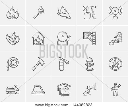 Fire sketch icon set for web, mobile and infographics. Hand drawn fire icon set. Fire vector icon set. Fire icon set isolated on white background.